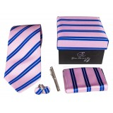 Cravates E.G. - Double Strip Tie - Mix of Persian Rose and Klein Blue
