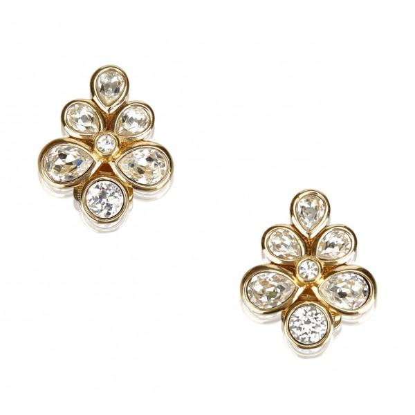 Dior Vintage - Rhinestone Flower Earrings - Gold - Dior Metal Earrings - Luxury High Quality