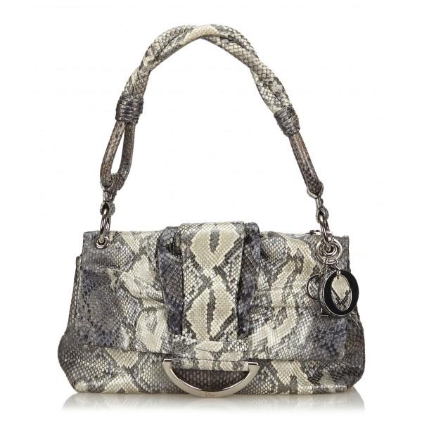 Dior Vintage - Python Demi Lune Bag - Grey - Leather Handbag - Luxury High Quality