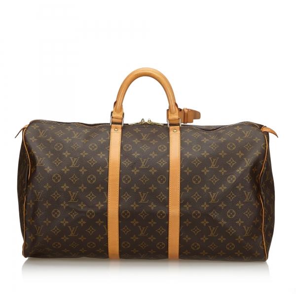 Louis Vuitton Vintage - Monogram Keepall 55 Bag - Marrone - Borsa in Pelle Monogram - Alta Qualità Luxury