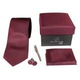 Cravates E.G. - Solid Satin Tie - Burgundy