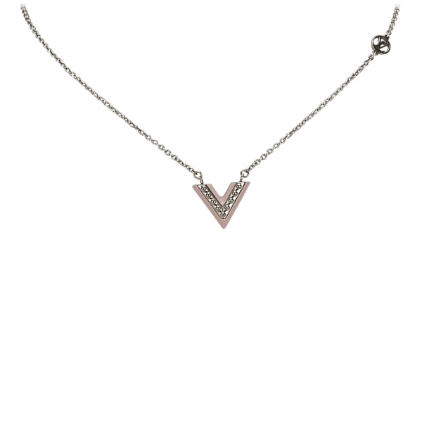 Louis Vuitton Vintage - Lacquer Essential V Necklace - Silver - LV Necklace - Luxury High Quality