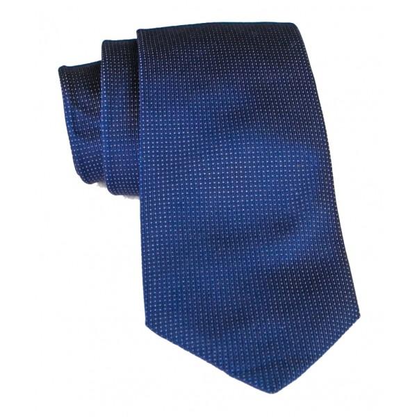 Cravates E.G. - Cravatta Monocolore con Motivo a Quadri - Blu Notte