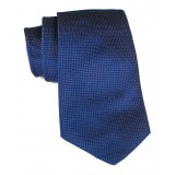Cravates E.G. - Solid Square Pattern Tie - Midnight Blue