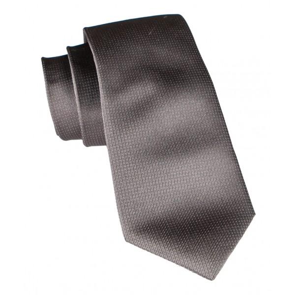 Cravates E.G. - Cravatta Monocolore con Motivo a Quadri - Marrone Scuro