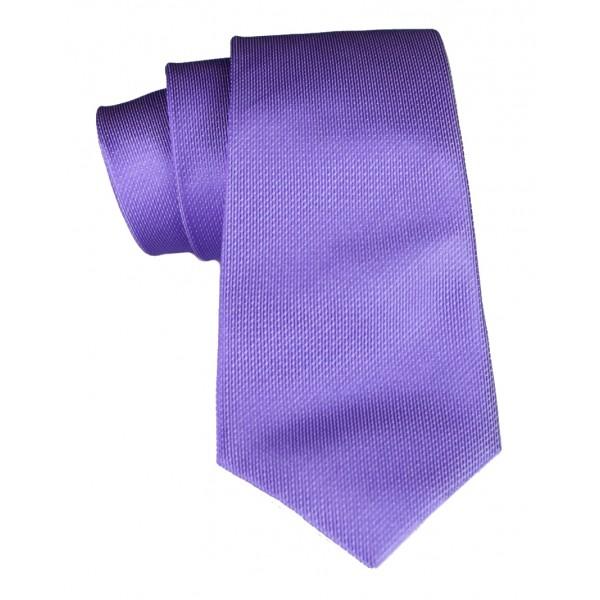 Cravates E.G. - Cravatta Monocolore con Motivo a Quadri - Viola