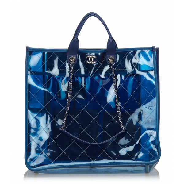 Chanel Vintage - 2018 Quilted PVC Large Coco Splash Shopping Tote Bag - Blu - Borsa in PVC - Alta Qualità Luxury