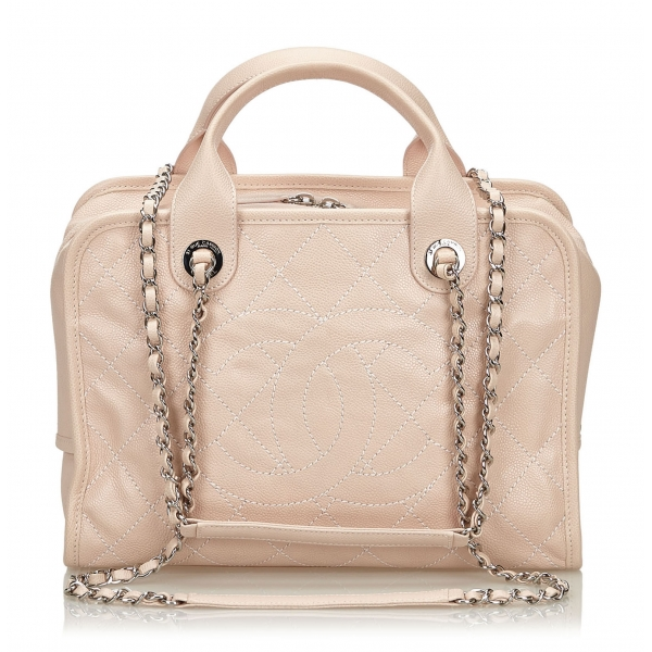 Chanel Vintage - Caviar Deauville Bowling Bag - Pink - Leather Handbag - Luxury High Quality