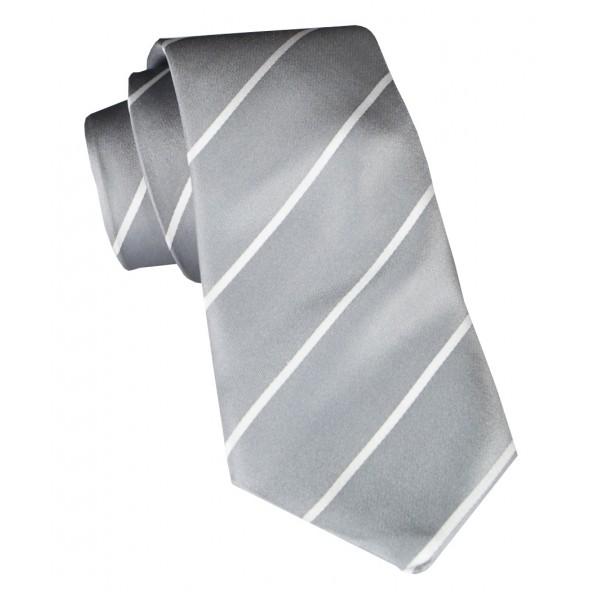 Cravates E.G. - Single Stripe Tie - Ice Gray