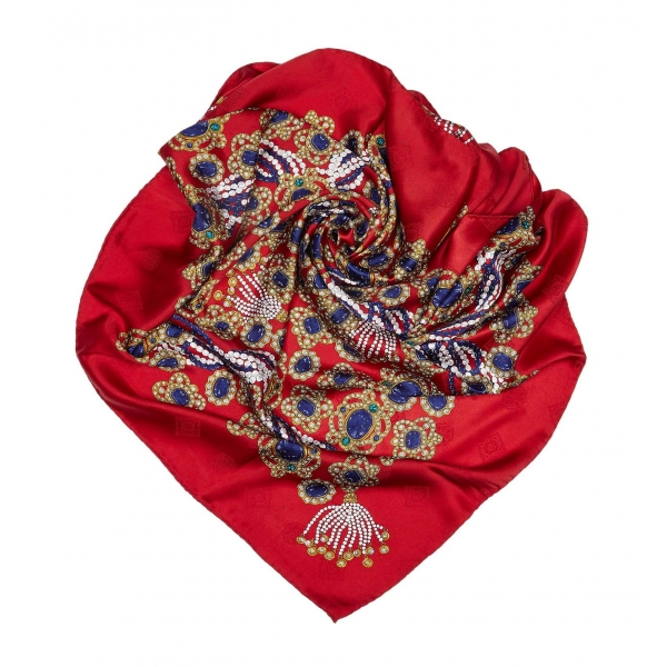 Chanel Vintage - Gem Printed Silk Scarf - Rosso - Foulard in Seta - Alta Qualità Luxury