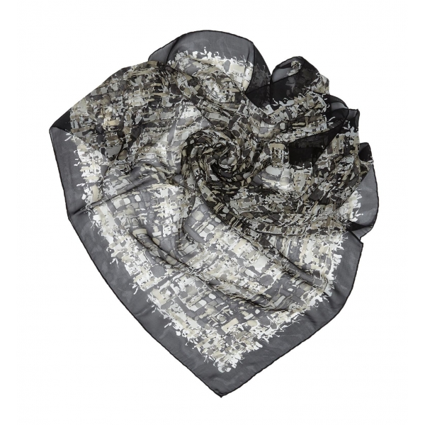 Chanel Vintage - Printed Silk Scarf - Grey Light Grey - Silk Foulard - Luxury High Quality