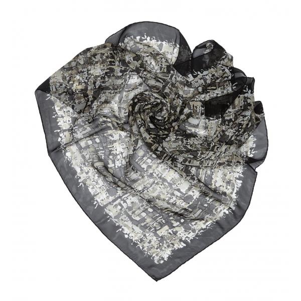 Chanel Vintage - Printed Silk Scarf - Grigio Chiaro Grigio - Foulard in Seta - Alta Qualità Luxury