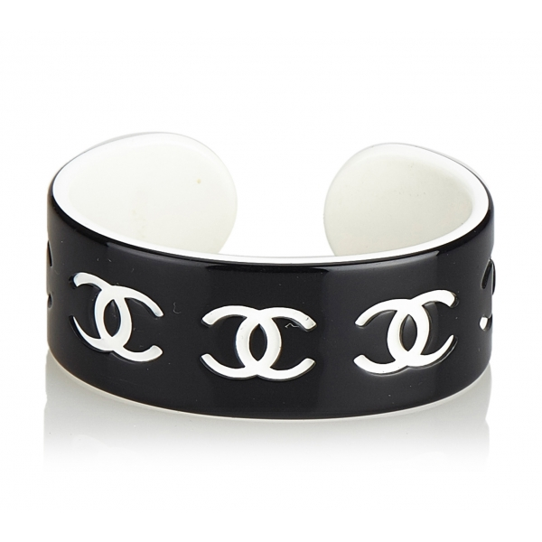 Chanel Vintage - CC Resin Bangle - Nero Bianco - Braccialetto Chanel - Alta Qualità Luxury