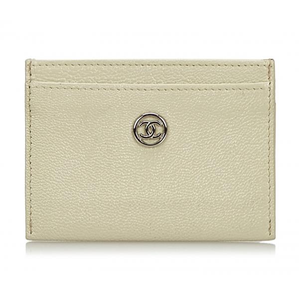 Chanel Vintage - Leather Card Holder - Bianco - Portafoglio in Pelle - Alta Qualità Luxury