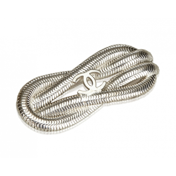 Chanel Vintage - CC Silver-Toned Metal Brooch - Silver - Brooch Chanel - Luxury High Quality