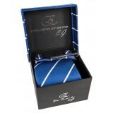Cravates E.G. - Cravatta a Striscia Singola - Blu Cobalto