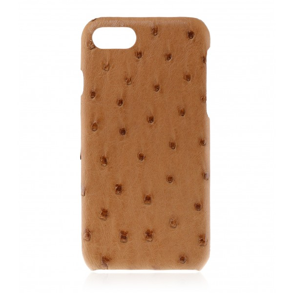 2 ME Style - Case Ostrich Cognac - iPhone 8 / 7 - Leather Cover