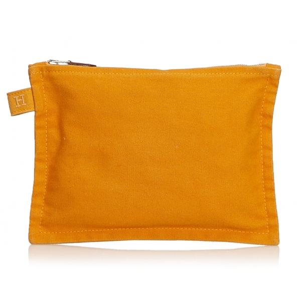 Hermès Vintage - Bora Bora Zip Pouch Bag - Arancione - Pounch in Tessuto e Cotone - Alta Qualità Luxury