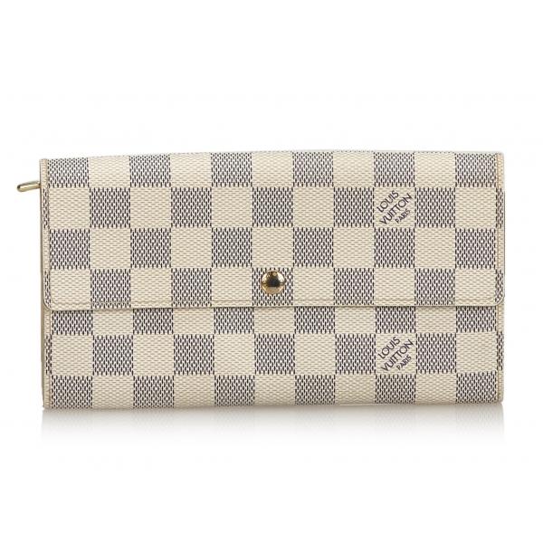 Louis Vuitton Vintage - Damier Azur Sarah Wallet - White Ivory Blue - Damier Leather Handbag - Luxury High Quality