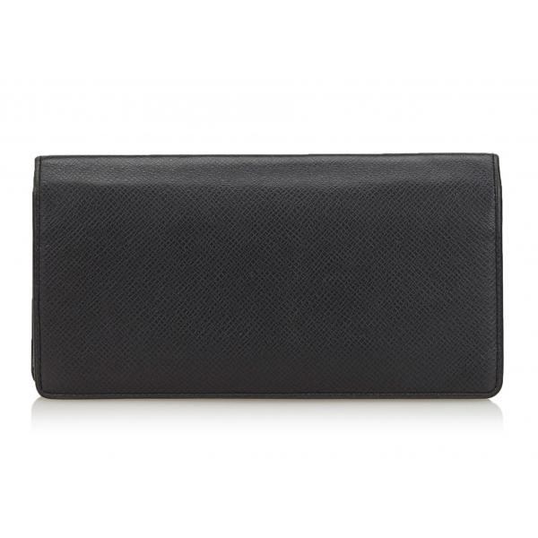 Louis Vuitton Vintage - Taiga Portefeuille Brazza Bi-Fold Long Wallet - Nero - Portafoglio in Pelle Taiga - Alta Qualità Luxury