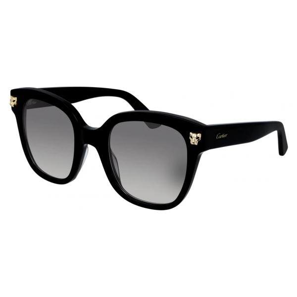 Cartier - Rettangolari - Acetato Nero Oro Champagne Lucido - Panthère de Cartier - Occhiali da Sole - Cartier Eyewear