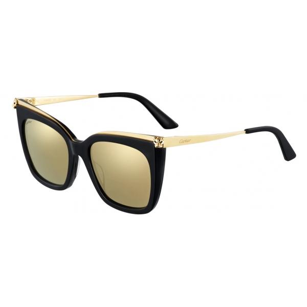 Cartier - Quadrati - Combinati Nero Oro - Large - Panthère de Cartier - Occhiali da Sole - Cartier Eyewear