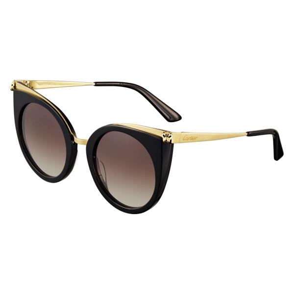 Cartier - Cat Eye - Acetato Combinati Nero Oro - Panthère de Cartier - Occhiali da Sole - Cartier Eyewear