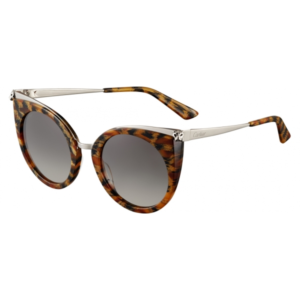 Cartier - Cat Eye - Acetate Combined Turtle Platinum - Panthère de Cartier - Sunglasses - Cartier Eyewear