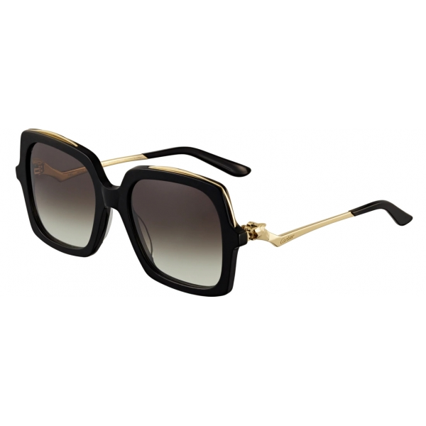 Solid Gold Metal Chain Templed Oversized Rectangular Sunglasses Matte Black