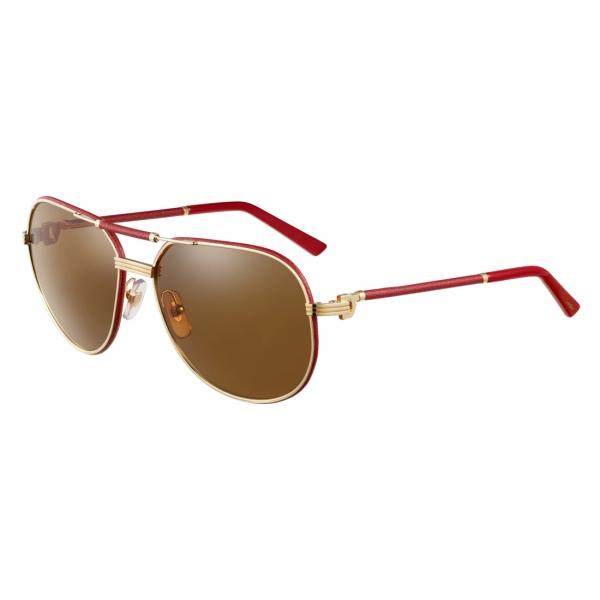 Cartier Aviator Metal Red Gold Brown Premiere De Cartier Sunglasses Cartier Eyewear