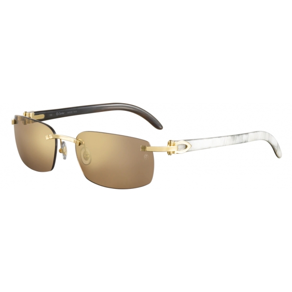 Cartier - Ovali - Corno di Bufalo Bianco Oro Bruno - C de Cartier - Occhiali da Sole - Cartier Eyewear
