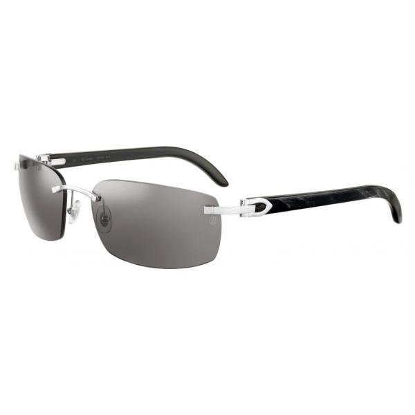 Cartier - Ovali - Corno di Bufalo Nero Marmorizzato Platino Grigio - C de Cartier - Occhiali da Sole - Cartier Eyewear