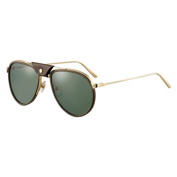 Cartier - Aviator - Metallo Legno Carbonio Oro Champagne Verde - Santos de Cartier - Occhiali da Sole - Cartier Eyewear
