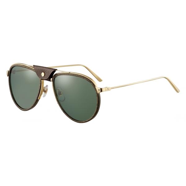 Cartier - Aviator - Metallo Legno Carbonio Oro Champagne Verde - Fit - Santos de Cartier - Occhiali da Sole - Cartier Eyewear