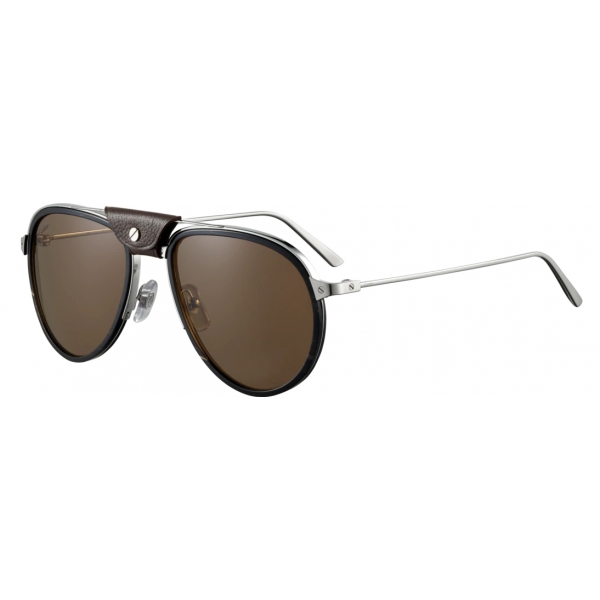 Cartier - Aviator - Metallo Corno Nero Carbonio Platino Marrone - Santos de Cartier - Occhiali da Sole - Cartier Eyewear