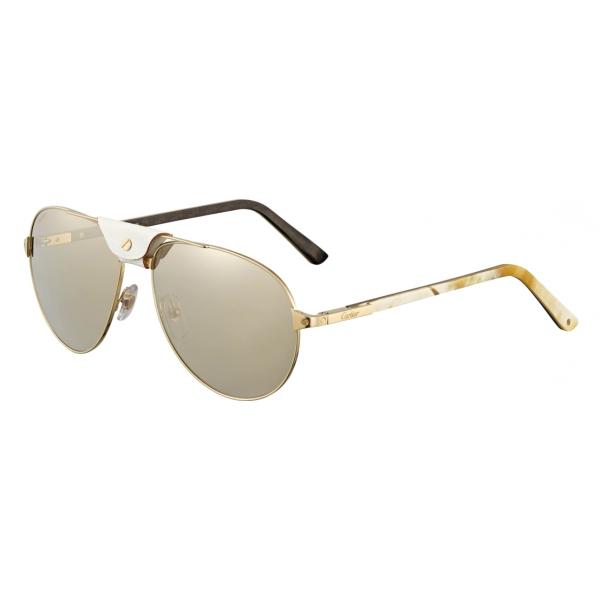 Cartier - Aviator - Metallo Corno Bianco Carbonio Oro Champagne - Santos de Cartier - Occhiali da Sole - Cartier Eyewear