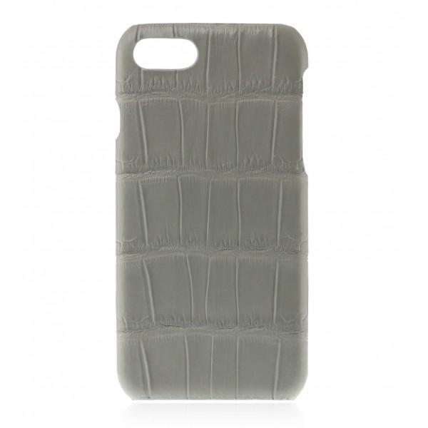 2 ME Style - Case Croco Gris Clair - iPhone 8 Plus / 7 Plus - Leather Cover