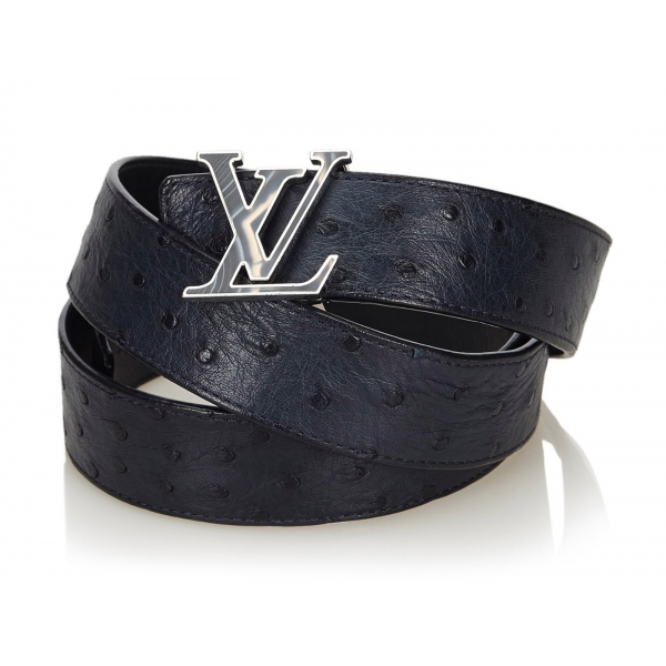 Louis Vuitton Vintage - Ostrich Leather Initiales Belt - Blue Navy - Leather Belt - Luxury High Quality