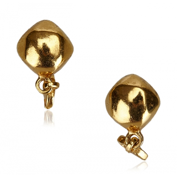 Chanel Vintage - CC Gold Toned Clip On Drop Earrings - Oro - Orecchini Chanel - Alta Qualità Luxury