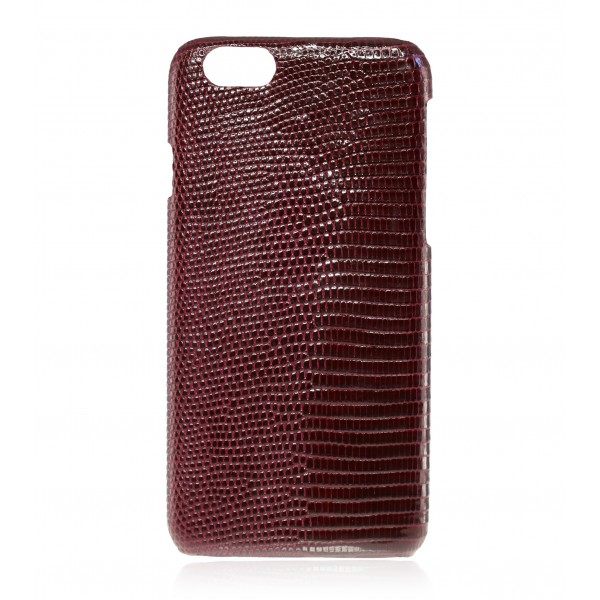 2 ME Style - Case Lizard Bordeaux Lisse Glossy - iPhone 8 Plus / 7 Plus - Leather Cover