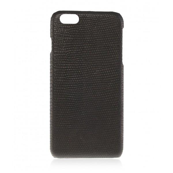 2 ME Style - Cover Lucertola Nero Safari Matt - iPhone 8 Plus / 7 Plus - Cover in Pelle