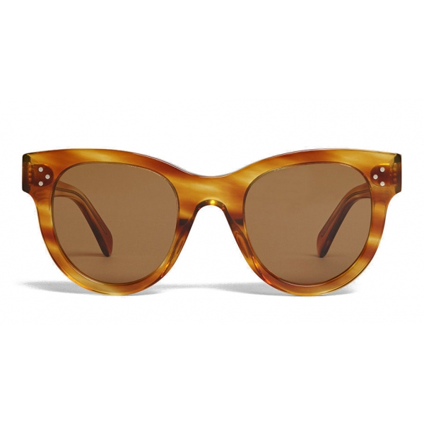 Céline - Classic Cat Eye Sunglasses in Acetate - Striped Havana - Sunglasses - Céline Eyewear