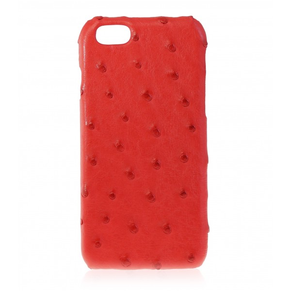 2 ME Style - Case Ostrich Scarlet Red - iPhone 8 Plus / 7 Plus - Leather Cover