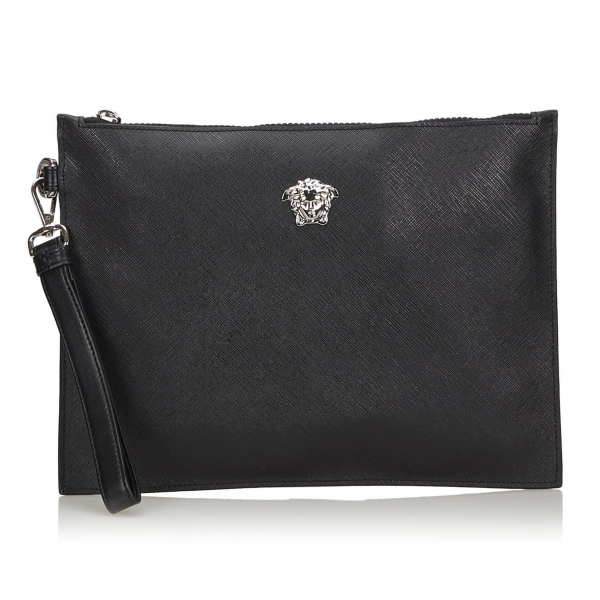 Versace Vintage - Medusa Clutch Bag - Black - Leather Handbag - Luxury High Quality