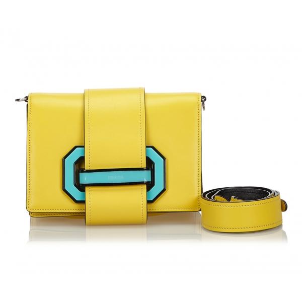 Prada Vintage - Leather Plex Ribbon Geometric Flap Bag - Yellow - Leather Handbag - Luxury High Quality