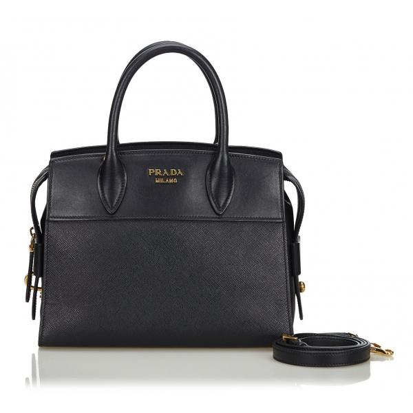 Prada Vintage - Saffiano Leather Esplanade Tote Bag - Nero - Borsa in Pelle - Alta Qualità Luxury