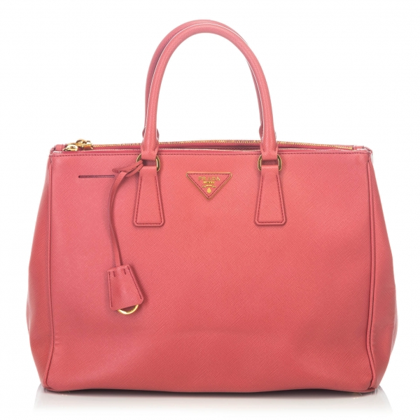 Prada Vintage - Large Saffiano Lux Galleria Double Zip Tote Bag - Pink - Leather Handbag - Luxury High Quality