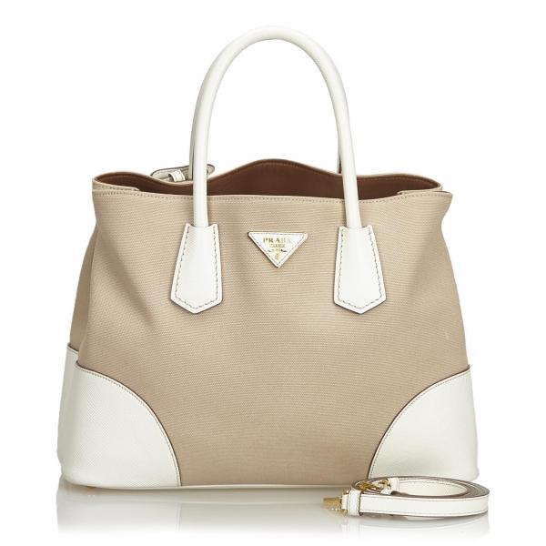 Prada Vintage - Canvas Double Cuir Satchel Bag - Marrone Beige - Borsa in Pelle - Alta Qualità Luxury