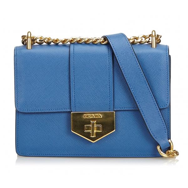 Prada Vintage - Saffiano Leather Crossbody Bag - Blu - Borsa in Pelle - Alta Qualità Luxury