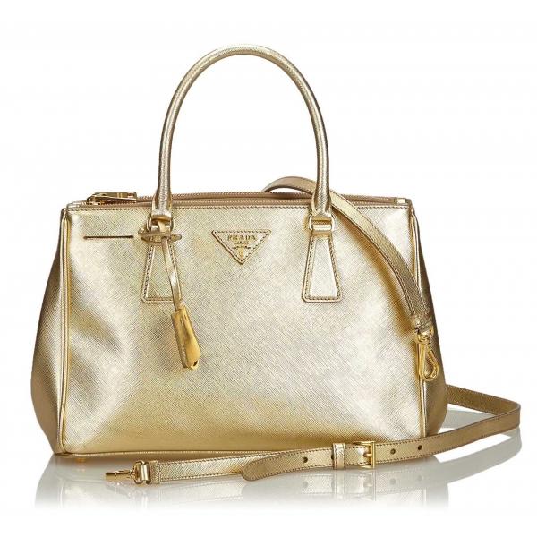 Prada Vintage - Leather Saffiano Galleria Handbag Bag - Oro - Borsa in Pelle - Alta Qualità Luxury